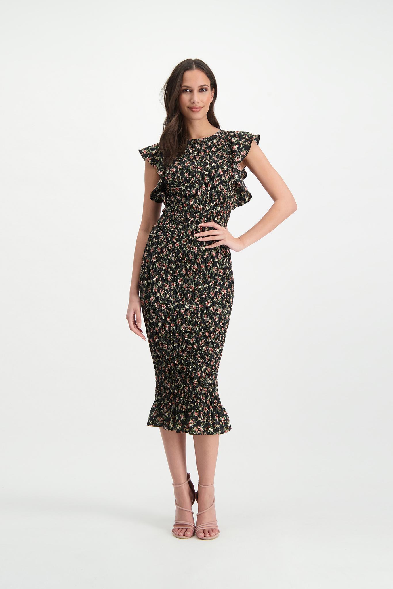 Lofty Manner Long black with pink Flower Print Dress Celia