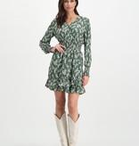 Lofty Manner Groene jurk met bloemenprint Ava