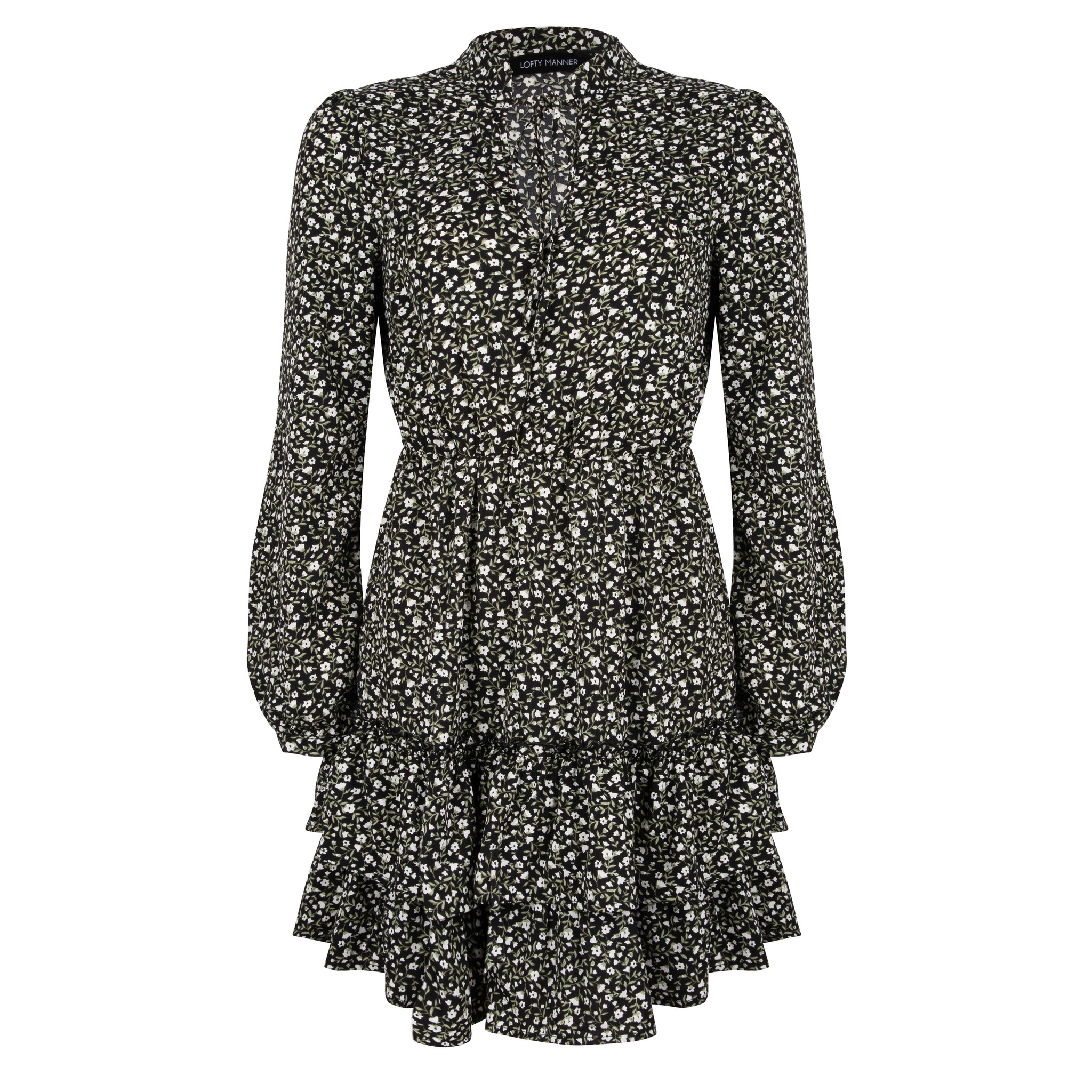 Lofty Manner Black Floral Print Dress Fayah