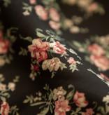 Lofty Manner Zwart-Roze Bloemenprint Rok Ivana