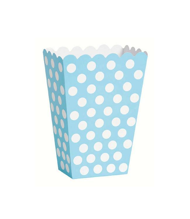 Unique Popcorn bakjes Lichtblauw met Witte Stippen - 8 stuks