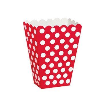 Unique Popcorn bakjes Rood met Witte Stippen - 8 stuks