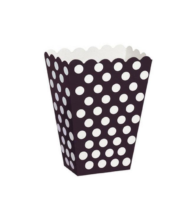 Unique Popcorn bakjes Zwart met Witte Stippen - 8 stuks