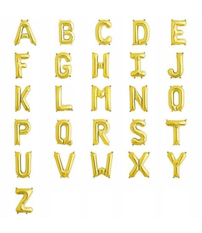 Partydeco Mini Letter Folieballon A t/m Z Goud (per stuk) - 33 tot 35 cm