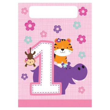 Creative Party 1 Jaar Safari Fun Meisje Uitdeelzakjes - 8 stuks - 23 x 16 cm