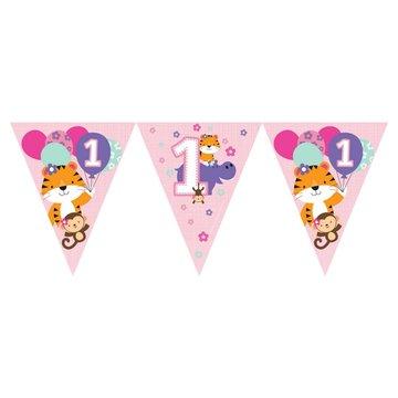 Creative Party 1 Jaar Safari Fun Meisje Vlaggenlijn - 3,7 meter
