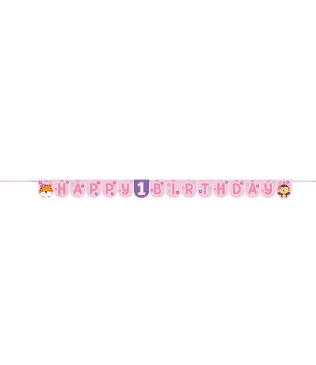 Creative Party 1 Jaar Safari Fun Meisje Slinger 'Happy 1 Birthday' - 2,4 meter