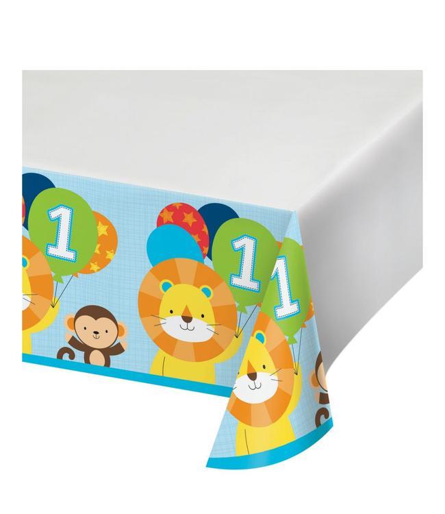Creative Party 1 Jaar Safari Fun Jongen Tafelkleed - 1,37 x 2,59 meter - Plastic