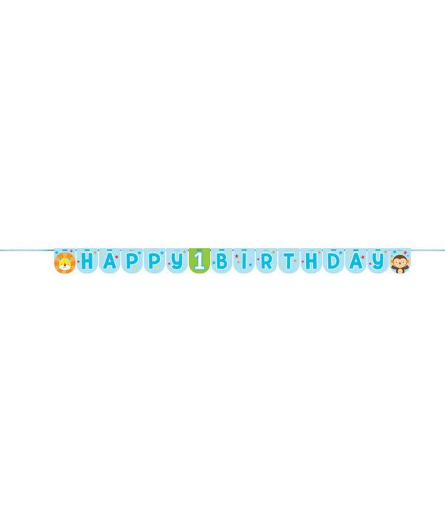 Creative Party 1 Jaar Safari Fun Jongen Slinger 'Happy 1 Birthday' - 2,4 meter
