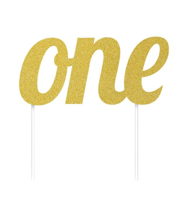 Creative Party Cake Topper 'One' Goud - per stuk - Taarttopper
