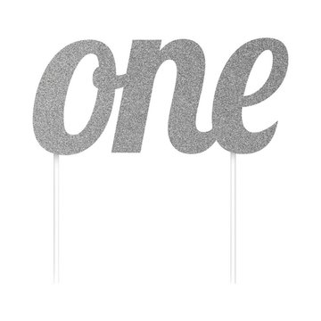 Creative Party Cake Topper 'One' Zilver - per stuk - Taarttopper