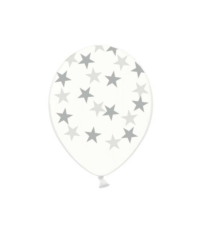 Partydeco Ballonnen met zilveren sterretjes, crystal clear - 6 stuks