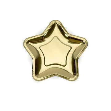 Partydeco Gouden Bordjes Ster - 18 cm - 6 stuks