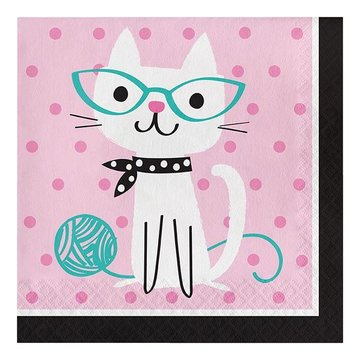 Creative Party Purr-fect Party Servetten - 16 stuks - 33 cm