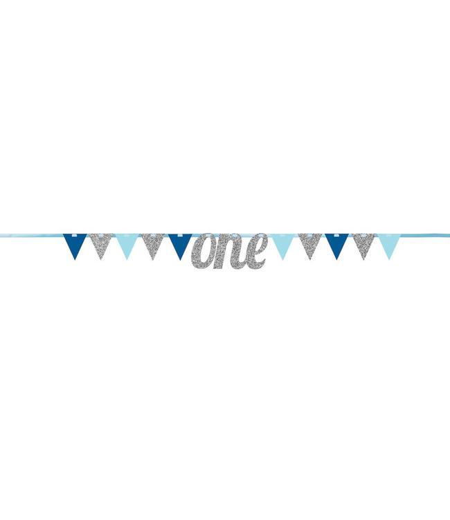 Creative Party Slinger 1 Jaar 'One' Blauw en Zilver - 2,7 meter