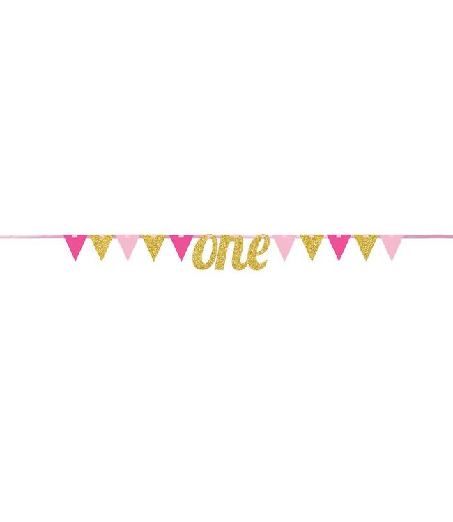 Creative Party Slinger 1 Jaar 'One' Roze en Goud - 2,7 meter