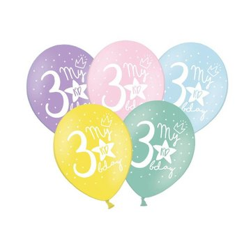 Partydeco 3 Jaar Ballonnen Pastel - 6 stuks - 30 cm