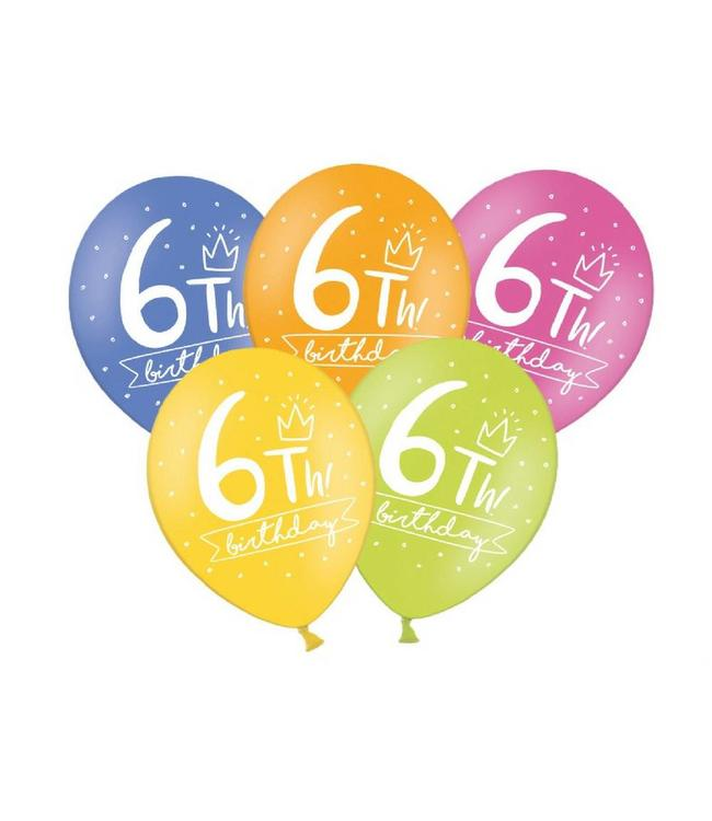 Partydeco 6 Jaar Ballonnen Assorti - 6 stuks - 30 cm