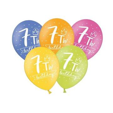 Partydeco 7 Jaar Ballonnen Assorti - 6 stuks - 30 cm