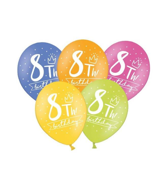 Partydeco 8 Jaar Ballonnen Assorti - 6 stuks - 30 cm