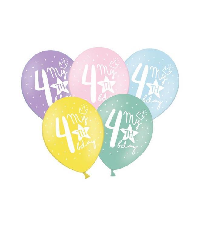Partydeco 4 Jaar Ballonnen Pastel - 6 stuks - 30 cm