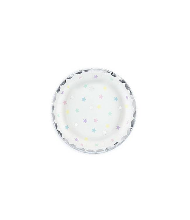 Partydeco Bordjes Sterren Pastel en Zilver - 6 stuks - 18 cm