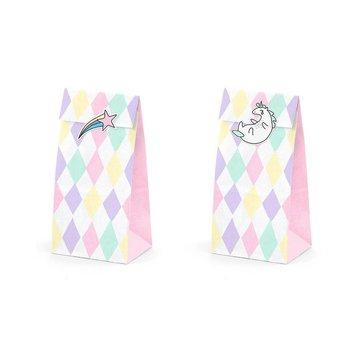 Partydeco Unicorn Uitdeelzakjes Pastel - set van 6 - papier