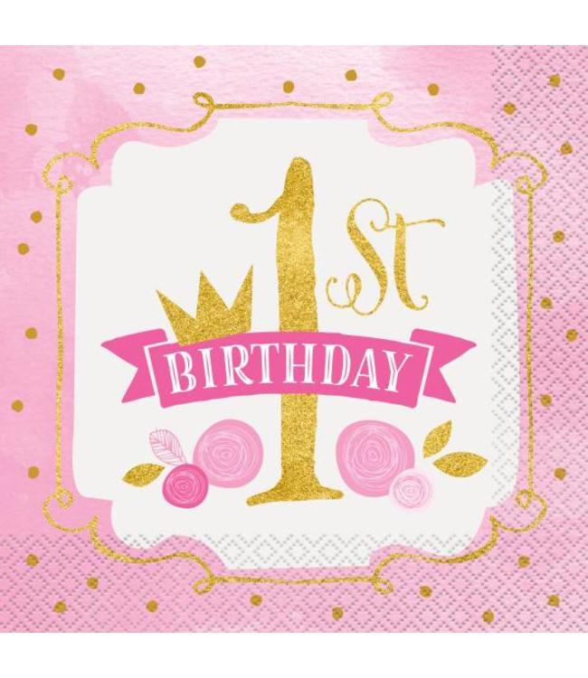 Bekend 1 Jaar Prinses servetten voor de eerste verjaardag - Hieppp #FU03