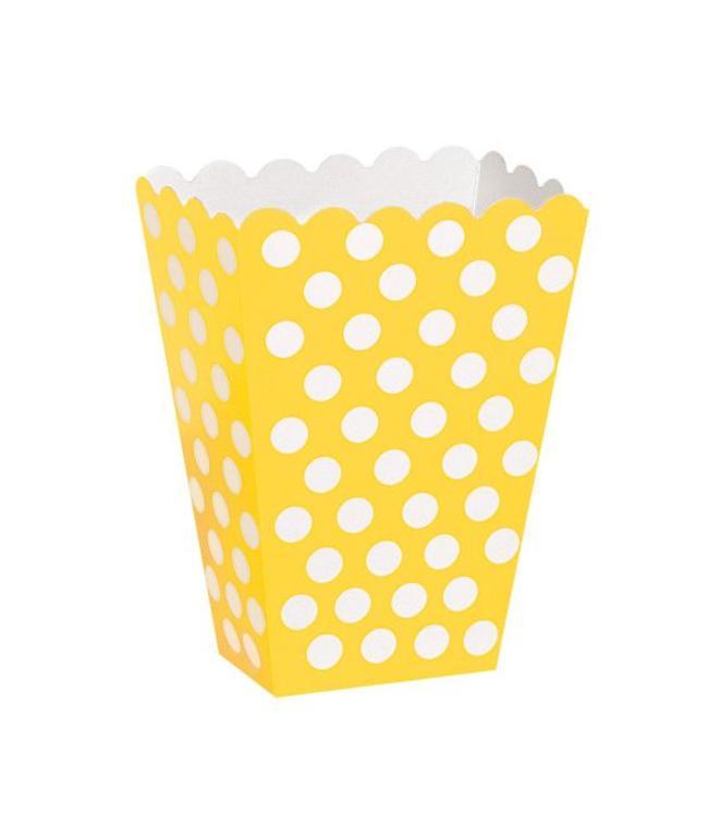 Unique Popcorn bakjes Geel met Witte Stippen - 8 stuks
