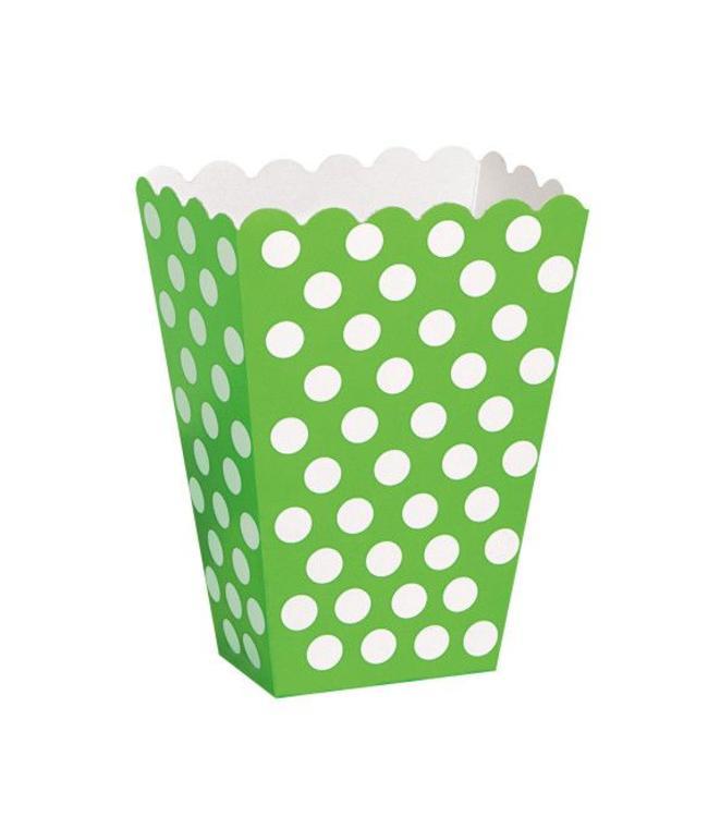 Unique Popcorn bakjes Groen met Witte Stippen - 8 stuks