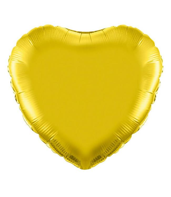 Betallic Folieballon Hart Goud - 46 cm
