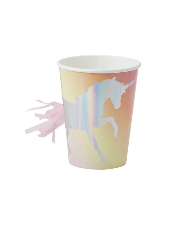 Ginger Ray Make a Wish Unicorn Bekers Holografisch - 8 stuks