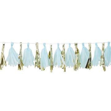 Ginger Ray Tasselslinger Blauw & Goud -  16 tassels