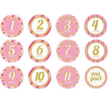 Creative Party Baby Mijlpaalstickers Roze - 12 stickers