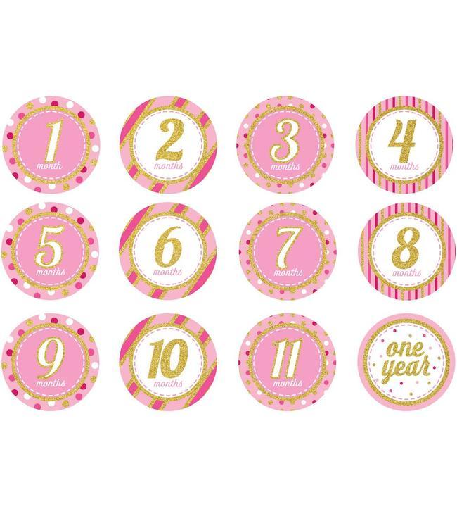 Creative Party Baby Mijlpaalstickers Roze - 12 stickers