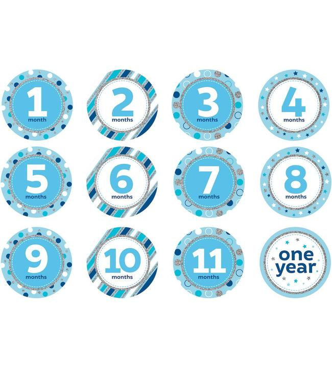 Creative Party Baby Mijlpaalstickers Blauw - 12 stickers