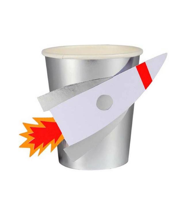 Meri Meri Space Raket Bekers - 8 stuks - Ruimtevaart feestartikelen