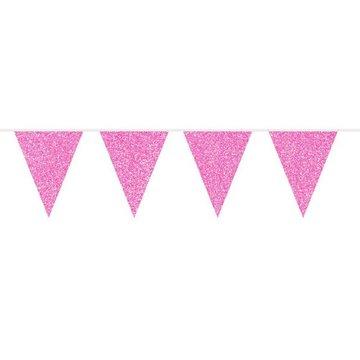 Folat Vlaggenlijn Roze Glitter - 6 meter - plastic