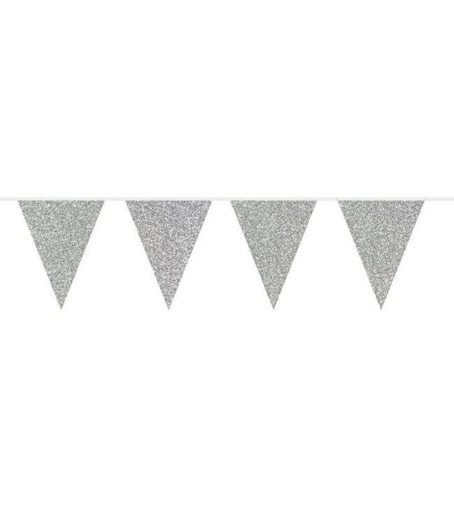 Folat Vlaggenlijn Zilver Glitter - 6 meter