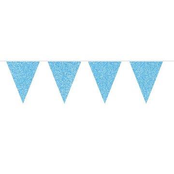 Folat Vlaggenlijn Blauw Glitter - 6 meter - plastic