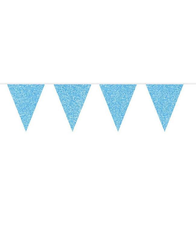 Folat Vlaggenlijn Blauw Glitter - 6 meter