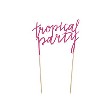 Partydeco Cake Topper 'Tropical Party' - per stuk - Taarttopper