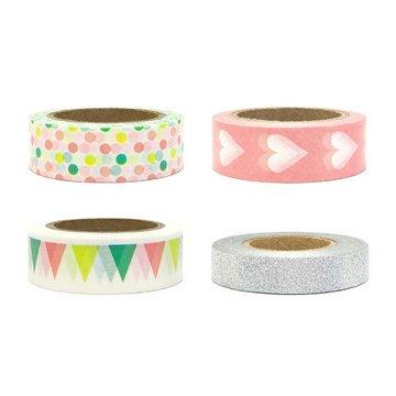 Partydeco Decoratieve Tapes Feestelijk - set van 4 - Washi Tape