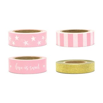 Partydeco Decoratieve Tapes Roze & Goud - set van 4 - Washi Tape