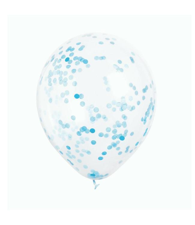 Unique Transparante Ballonnen met Lichtblauwe Confetti - 6 stuks