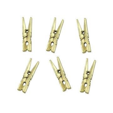 Partydeco Goud Metallic Knijpertjes - 10 stuks - 3,5 cm