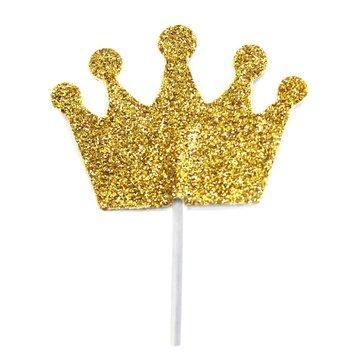 Creative Party Kroon Cupcake Toppers - 12 stuks - goud