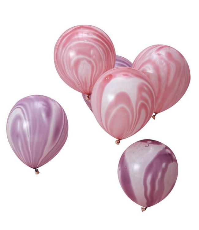 Ginger Ray Marble Ballonnen Roze en Paars - 10 stuks - Marmer
