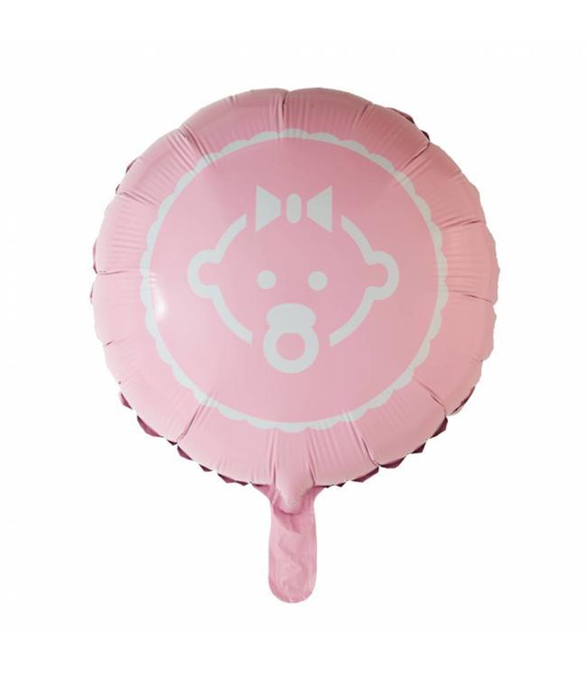 Globos Nordic Baby Girl Folieballon (Roze) - per stuk - 46 cm