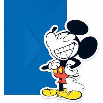 Procos Mickey Super Cool Uitnodigingen - 6 stuks - Mickey Mouse Feestartikelen